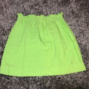 J CREW Bright Green City Mini SKIRT 8 Linen 40304